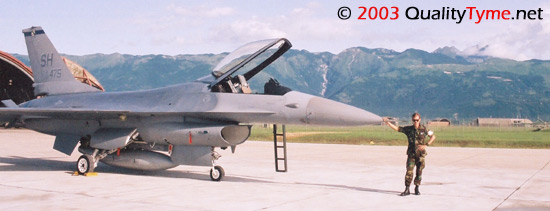 John E. Brozek with F-16 Fighting Falcon at Aviano Air Base, Italy.