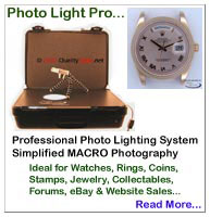 "LB1000 Photo Light Pro... Professional Photo Lighting Systems... Portable Photo Light Box...Ideal for Macro Photography of: Watches, Rings, Coins, Stamps, Insect Collections, Loose Gems, Jewelry, EBay & Website Sales, and MORE... Utilizes a ""Full Spectrum"" Fluorescent Circline Bulb... Works with both Digital & conventional SLR film cameras..."