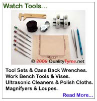 Watch Tool Sets, Case Back Tools, Work Bench Tools, Magnifier Lamps, Ultrasonic Cleaners, for inspecting, cleaning and servicing Rolex watches, Spring Bar Removal Tool, Jeweler's Magnifier Loupe (loop), Anti-magnetic Tweezers, Jeweler's Micro Screwdriver Set, Swiss Caliper Gauge, Vise-Mounted Aluminum Case Holder, Polishing Cloth...